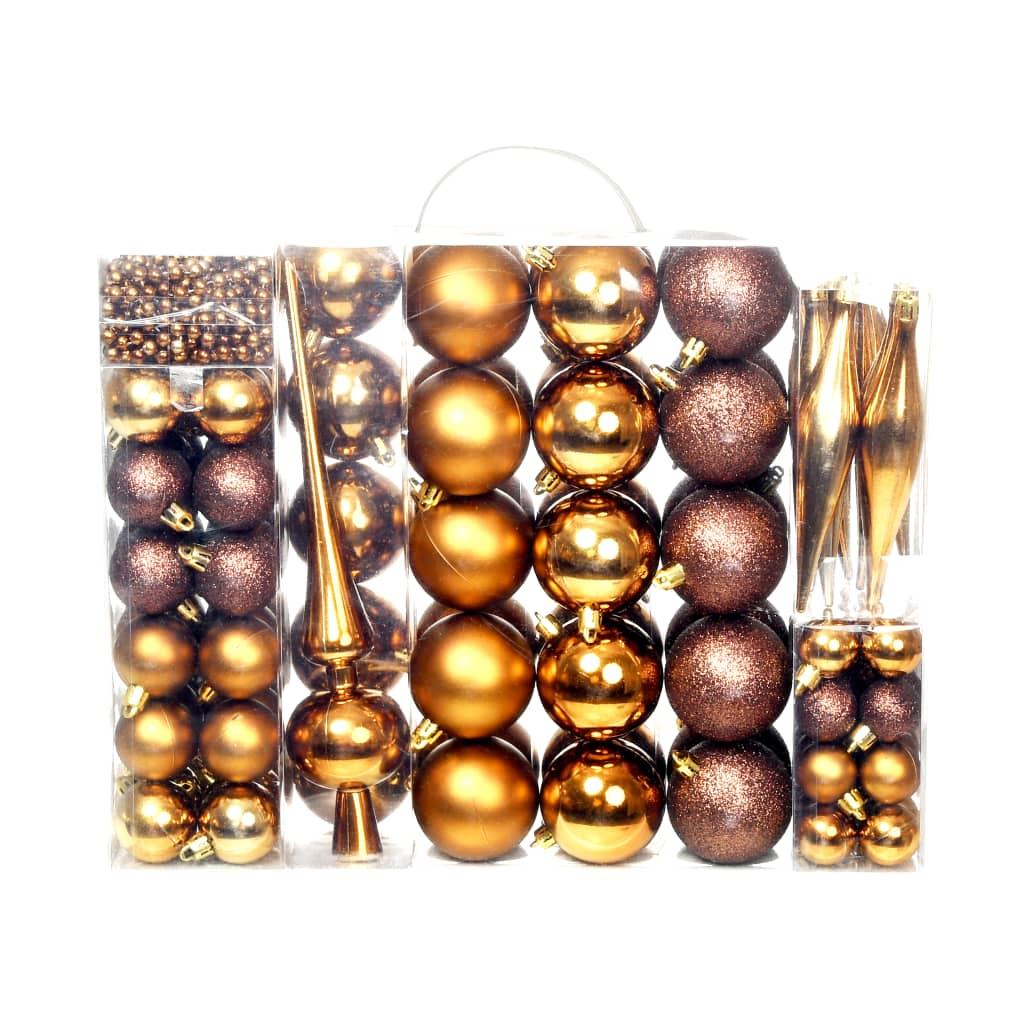 vidaXL Sada vánočních baněk 113 kusů 6 cm hnědá/bronzová/zlatá