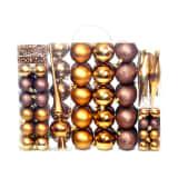 vidaXL 113-osaline jõulukuulide komplekt, 6 cm, pruun/pronksjas/kuldne