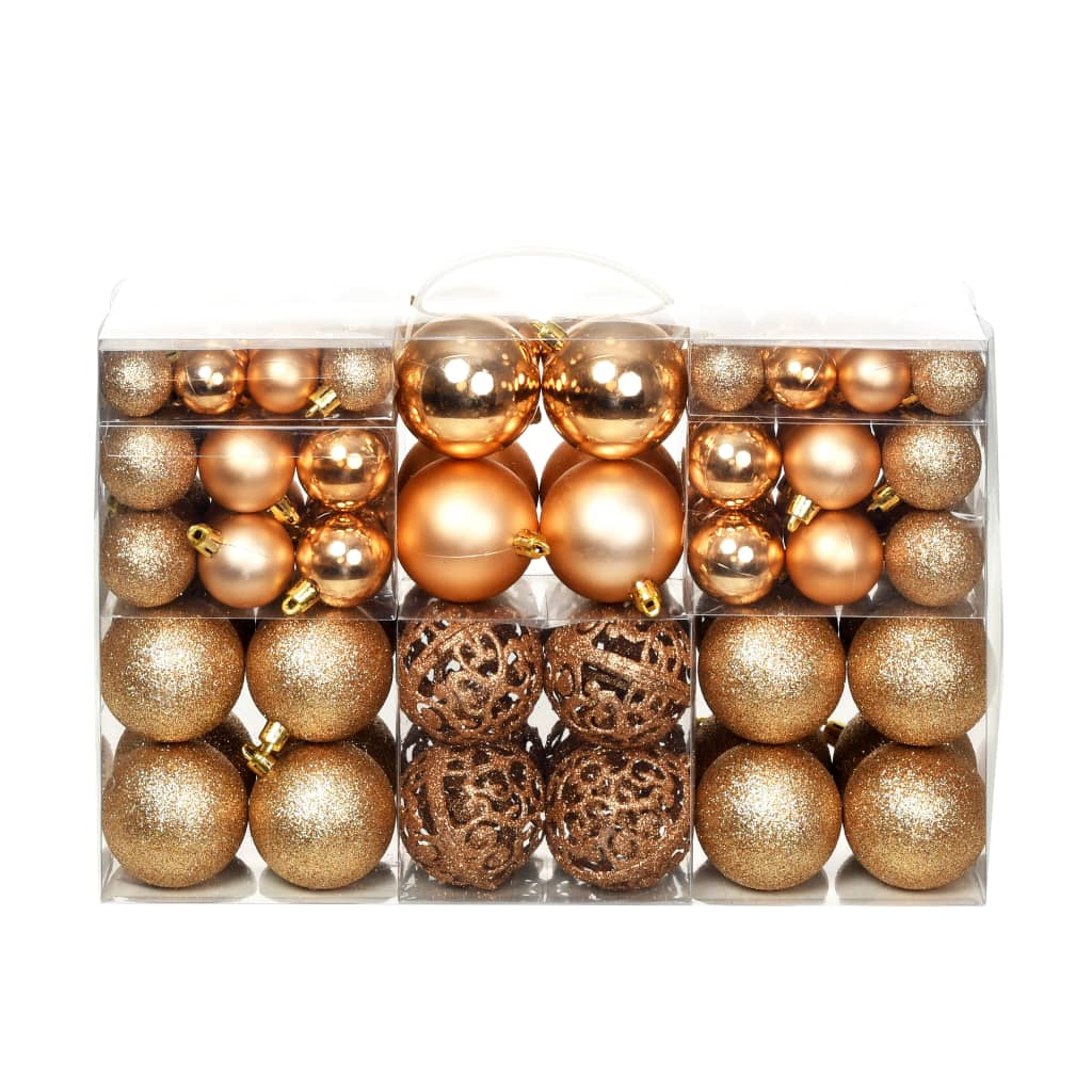 Image of vidaXL 100 Piece Christmas Ball Set 6 cm Rose/Gold
