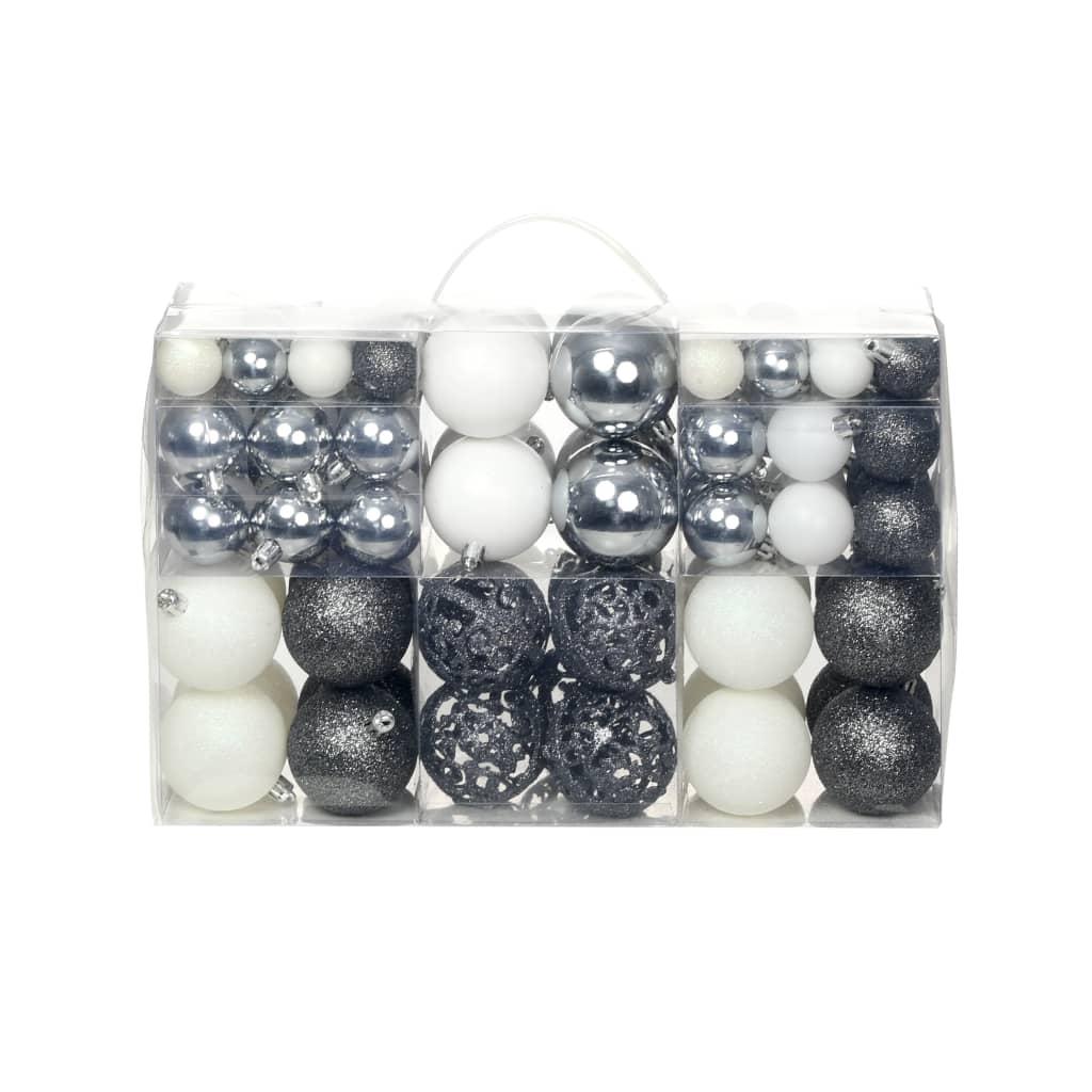 vidaXL Sada vánočních baněk 100 kusů 6 cm bílá/šedá