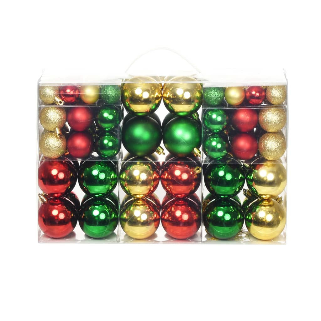 Image of vidaXL 100 Piece Christmas Ball Set 6 cm Red/Gold/Green