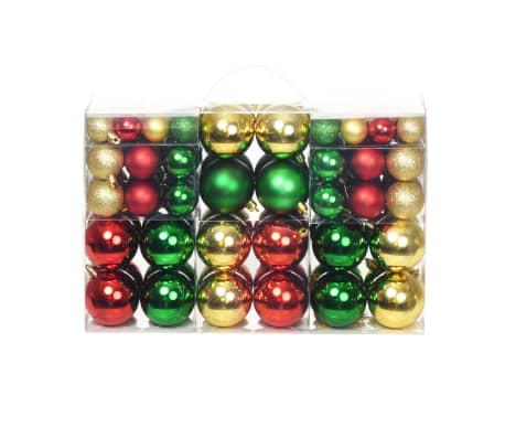 vidaXL 100-tlg. Weihnachtskugel-Set 6 cm Rot/Golden/Grün[1/18]