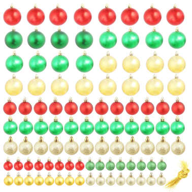 vidaXL 100-tlg. Weihnachtskugel-Set 6 cm Rot/Golden/Grün[2/18]