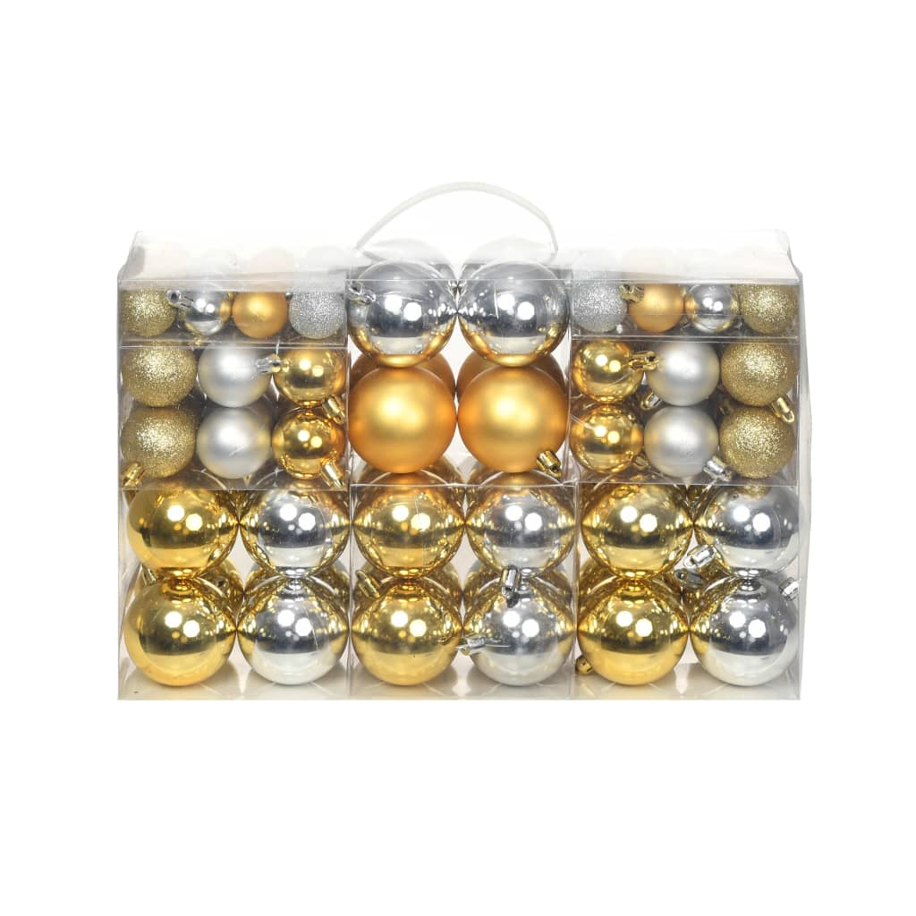 Image of vidaXL 100 Piece Christmas Ball Set 6 cm Silver/Gold