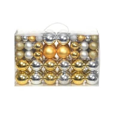 vidaXL Lote de bolas de Navidad 100 unidades plateadas/doradas 6 cm[1/16]