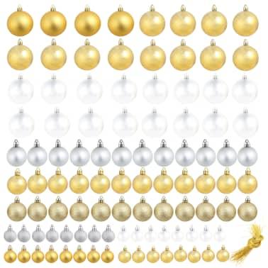 vidaXL Lote de bolas de Navidad 100 unidades plateadas/doradas 6 cm[2/16]