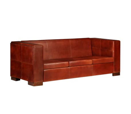 vidaXL Trivietė sofa, tamsiai ruda, tikra oda[1/16]
