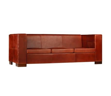 vidaXL Trivietė sofa, tamsiai ruda, tikra oda[2/16]