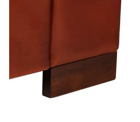 vidaXL Trivietė sofa, tamsiai ruda, tikra oda[11/16]
