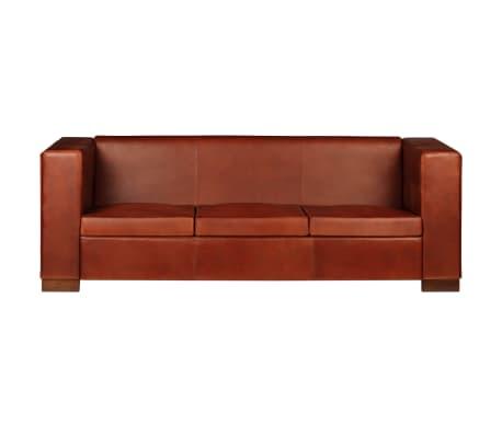 vidaXL Trivietė sofa, tamsiai ruda, tikra oda[4/16]