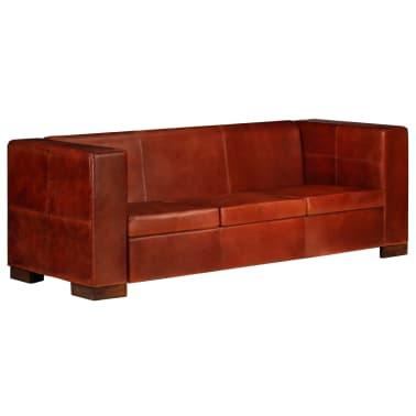 vidaXL Trivietė sofa, tamsiai ruda, tikra oda[13/16]