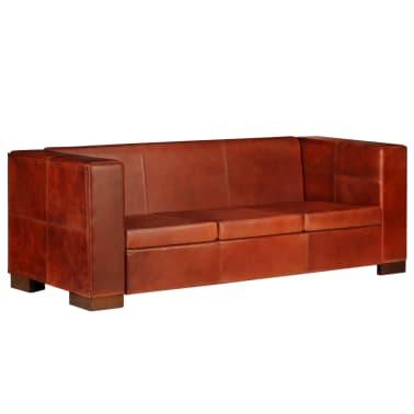 vidaXL Trivietė sofa, tamsiai ruda, tikra oda[15/16]