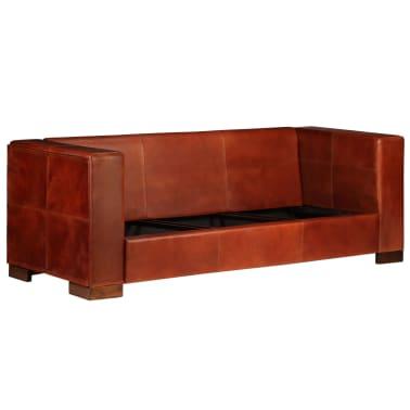 vidaXL Trivietė sofa, tamsiai ruda, tikra oda[3/16]
