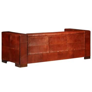vidaXL Trivietė sofa, tamsiai ruda, tikra oda[6/16]