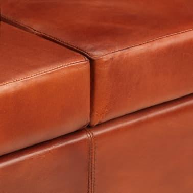 vidaXL Trivietė sofa, tamsiai ruda, tikra oda[8/16]