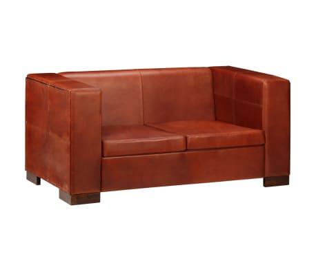 vidaXL Dvivietė sofa, tamsiai ruda, tikra oda[1/16]