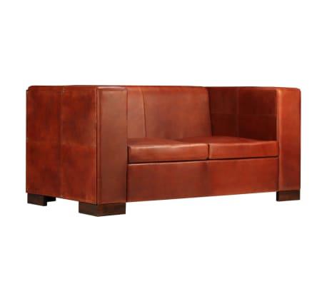 vidaXL Dvivietė sofa, tamsiai ruda, tikra oda[2/16]