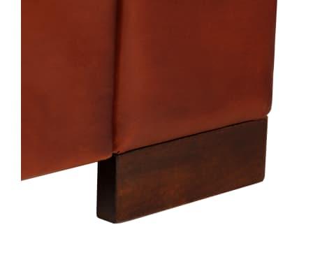 vidaXL Dvivietė sofa, tamsiai ruda, tikra oda[11/16]
