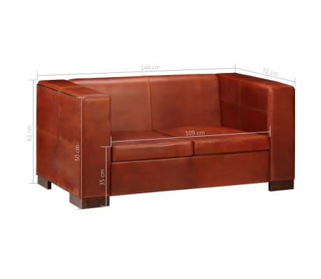 vidaXL Dvivietė sofa, tamsiai ruda, tikra oda[12/16]