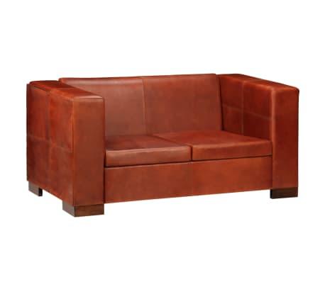 vidaXL Dvivietė sofa, tamsiai ruda, tikra oda[15/16]