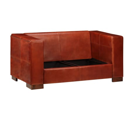 vidaXL Dvivietė sofa, tamsiai ruda, tikra oda[3/16]