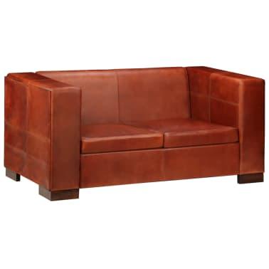 vidaXL Dvivietė sofa, tamsiai ruda, tikra oda[13/16]