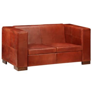 vidaXL Dvivietė sofa, tamsiai ruda, tikra oda[14/16]