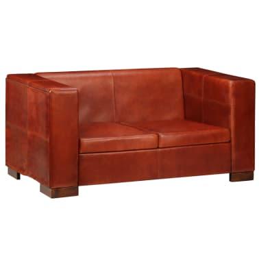 vidaXL Dvivietė sofa, tamsiai ruda, tikra oda[16/16]