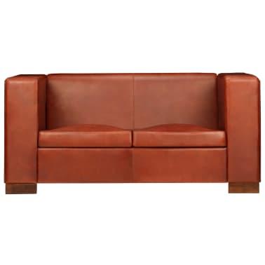 vidaXL Dvivietė sofa, tamsiai ruda, tikra oda[4/16]