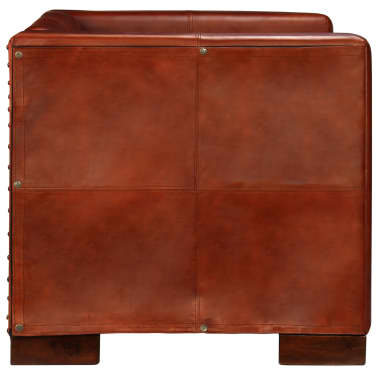 vidaXL Dvivietė sofa, tamsiai ruda, tikra oda[5/16]