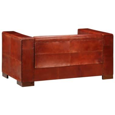 vidaXL Dvivietė sofa, tamsiai ruda, tikra oda[6/16]