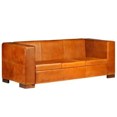 vidaXL Trivietė sofa, šviesiai ruda, tikra oda[1/15]