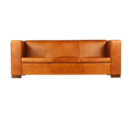 vidaXL Trivietė sofa, šviesiai ruda, tikra oda[2/15]