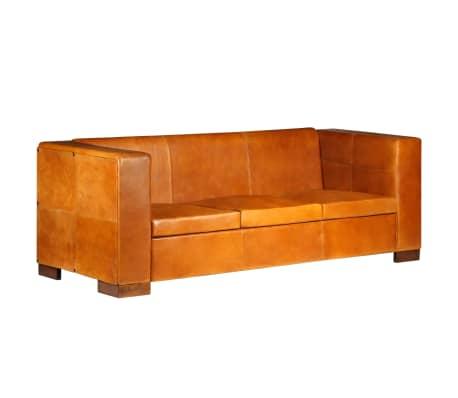 vidaXL Trivietė sofa, šviesiai ruda, tikra oda[12/15]
