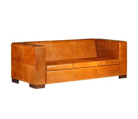 vidaXL Trivietė sofa, šviesiai ruda, tikra oda[14/15]