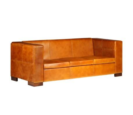 vidaXL Trivietė sofa, šviesiai ruda, tikra oda[15/15]