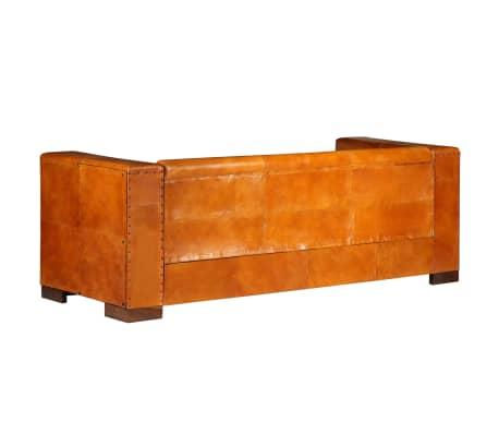 vidaXL Trivietė sofa, šviesiai ruda, tikra oda[3/15]