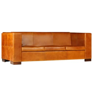 vidaXL Trivietė sofa, šviesiai ruda, tikra oda[11/15]