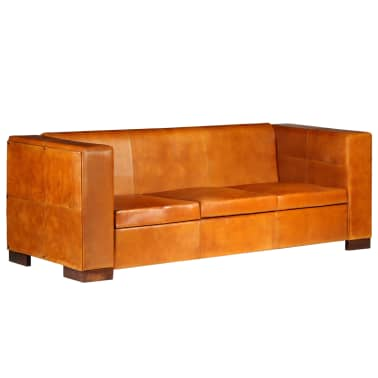 vidaXL Trivietė sofa, šviesiai ruda, tikra oda[13/15]