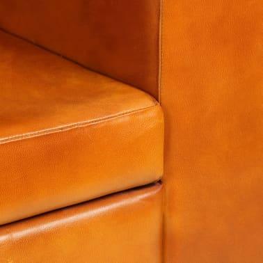 vidaXL Trivietė sofa, šviesiai ruda, tikra oda[6/15]