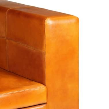 vidaXL Trivietė sofa, šviesiai ruda, tikra oda[7/15]