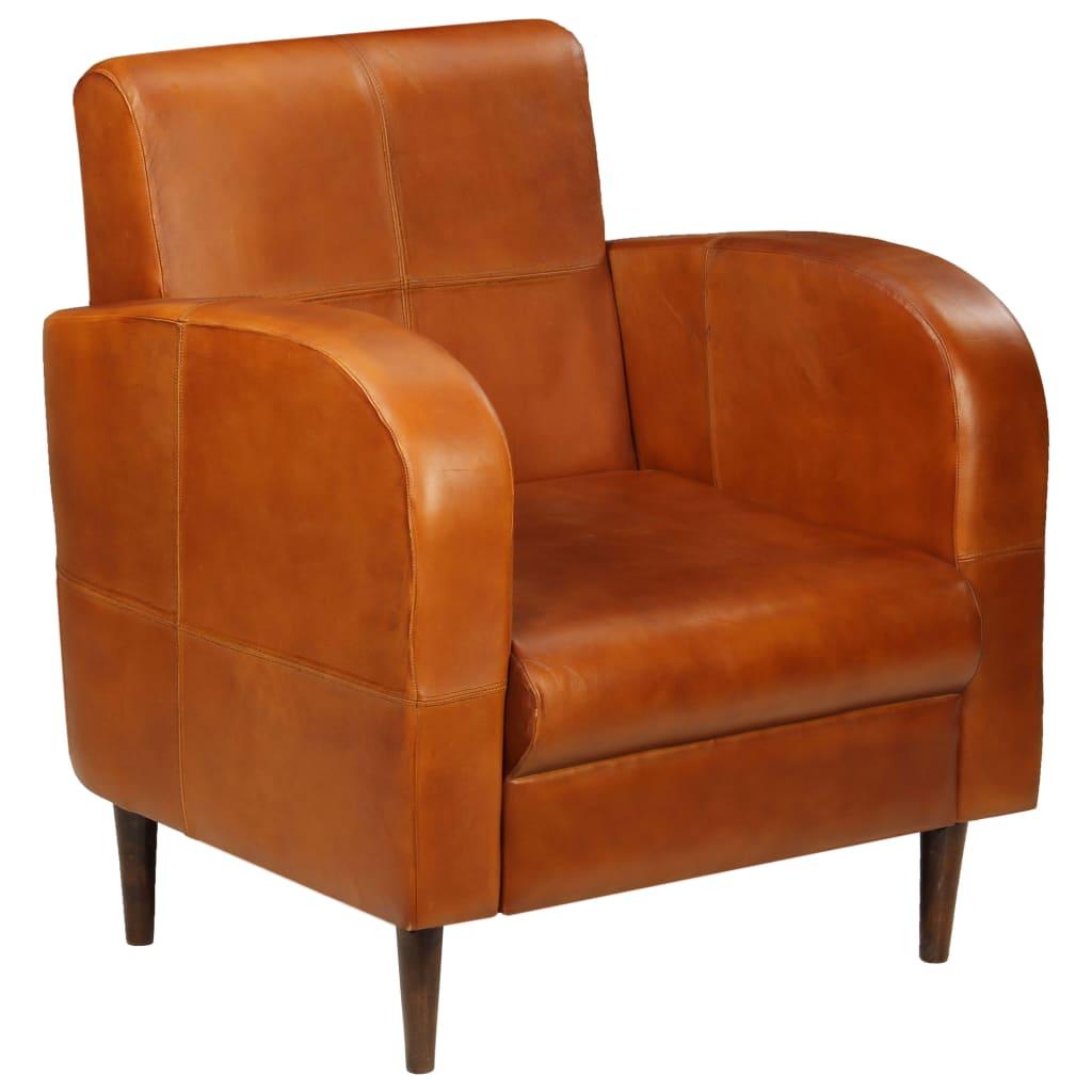 vidaXL Πολυθρόνα Ανοιχτό Καφέ από Γνήσιο Δέρμα