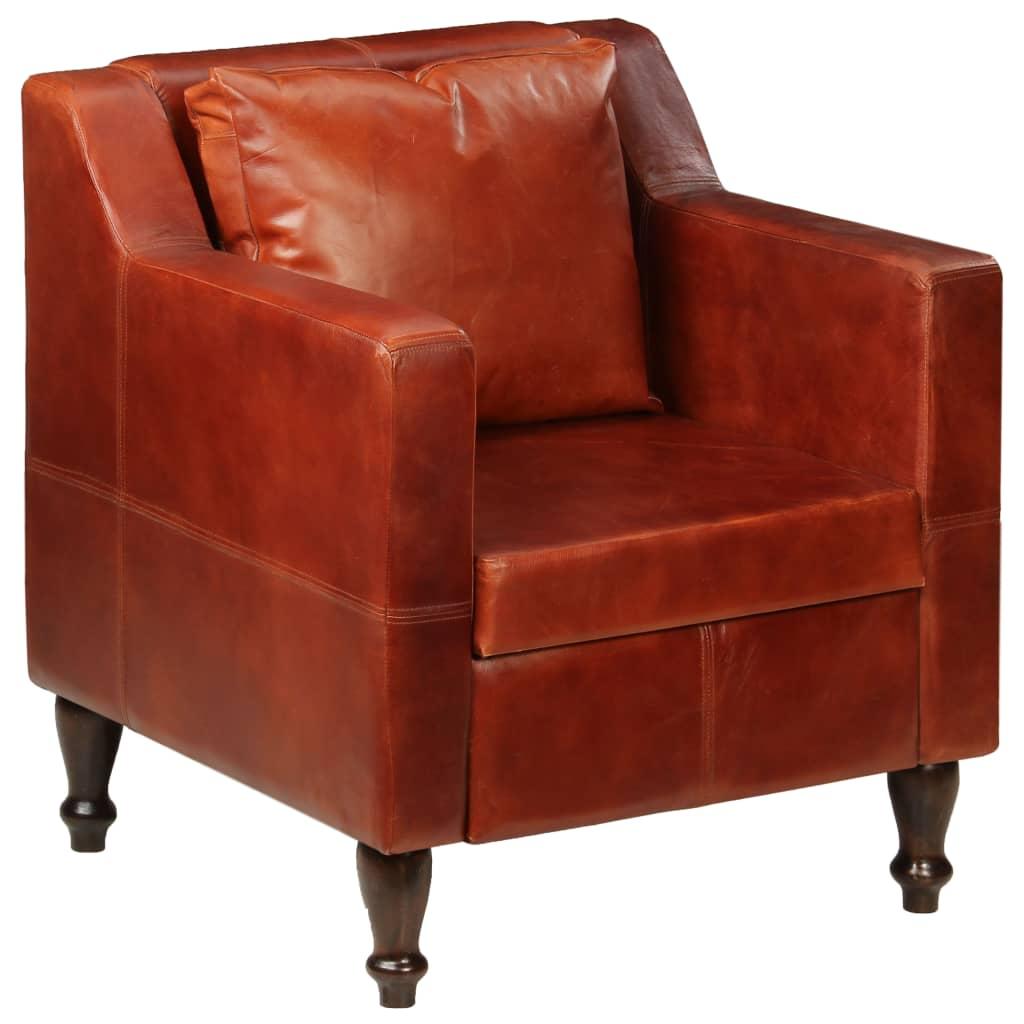 vidaXL Πολυθρόνα Σκούρο Καφέ από Γνήσιο Δέρμα