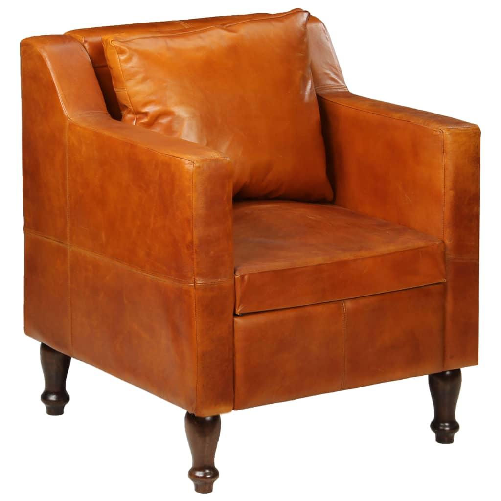 vidaXL Fotel, jasnobrązowy, skóra naturalna
