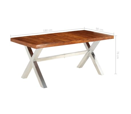 vidaXL Jídelní stůl masivní dřevo s sheeshamovým povrchem 180x90x76 cm[12/12]