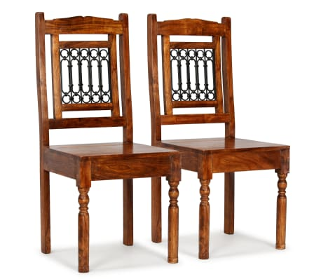 vidaXL Dining Chairs 2 pcs Solid Wood with Sheesham Finish Classic[1/10]