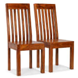 vidaXL Dining Chairs 2 pcs Solid Wood with Sheesham Finish Modern