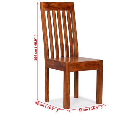vidaXL Dining Chairs 2 pcs Solid Wood with Sheesham Finish Modern[10/10]