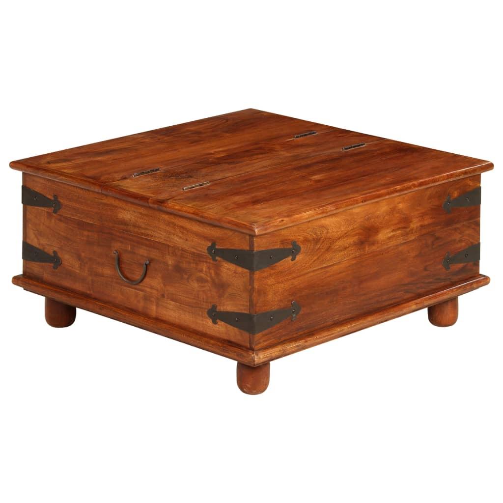 vidaXL Masă de cafea, lemn masiv acacia, finisaj sheesham 80x80x40 cm vidaxl.ro