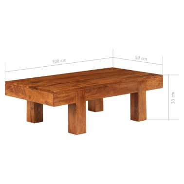 vidaXL Kavos staliukas, 100x50x30cm, akac. med. mas., raus. dalb. apd.[11/11]
